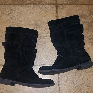TOMS sz 7.5 blk suede leather cutout slouch boots